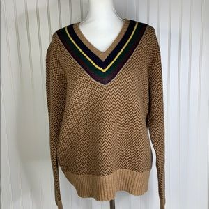 Polo by Ralph Lauren Brown V Neck Sweater Large